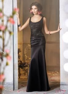 Satin Black Bridesmaid Dress Fit and Flare Formal Long Formal Dress with Draped Scoop Neckline