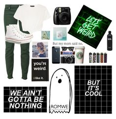 """""""Keep calm, Drink coffee, and Stay weird"""" by darksmile01 ❤ liked on Polyvore featuring Dsquared2, Converse, New Look and Fujifilm"""