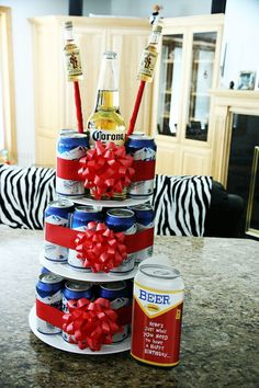 Would be great with Natty Light or Keystone!! (idk why he even likes Natty...) And instead of the corona's on top..add his favorite candy and pictures of us together!