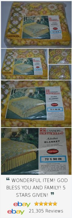 Cannon Menticello Aloha Blanket NEW Vintage 72x90 Nylon Trim Lock Nap http://stores.ebay.com/Lost-Loves-Toy-Chest