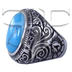 Mens Turquoise Colored Stone Ring Silver Tone Fashion Band