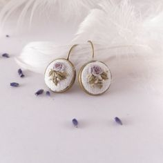 Earrings ROSE embroidered purple roses hand by atelierBrocante