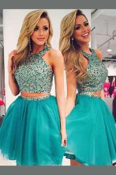 Cheap Comfortable Short Prom Dresses Beads Two Piece Teal Short Homecoming Dress Homecoming Dresses, Cheap Prom Dress, Short Prom Dress, Prom Dress Two Piece, Prom Dress Homecoming Dresses 2019 Teal Homecoming Dresses, Two Piece Homecoming Dress, Prom Dresses Two Piece, Dresses Short, Cheap Prom Dresses, Unique Dresses, Ball Dresses, Pretty Dresses, Ball Gowns