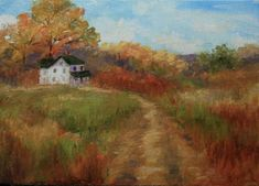 """Daily Paintworks - """"Autumn Country Road"""" - Original Fine Art for Sale - © Jean Nelson"""
