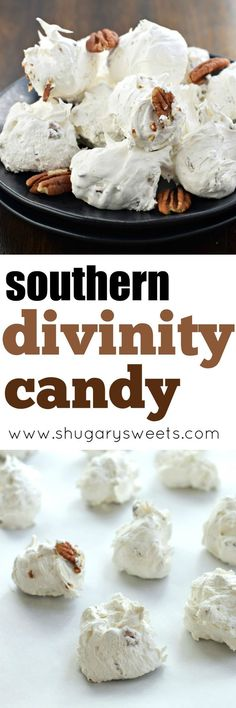 Divinity Candy is a Southern classic. Just one bite and you'll be hooked! Divinity Candy is a Southern classic. Just one bite and you'll be hooked! Fudge Recipes, Candy Recipes, Sweet Recipes, Holiday Recipes, Dessert Recipes, Holiday Baking, Christmas Baking, Toffee, Divinity Candy