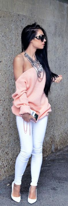 i love the oversized peach sweater...esp.with the white pants..but!!!..pull the arm up..or wear a little lace spaghetti strap camisole under it..