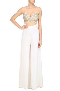 Shehla Khan Off White Sequins and Beads Embroidered Jumpsuit #happyshopping #shopnow #ppus