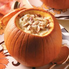 Baked Pumpkins Recipes from Taste of Home, including Tapioca Pudding in Pumpkins