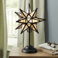 Moravian Star on Stem Table Lamp! I want to get these for my bathroom vanities, to have a little cozy lamp in the corner. Star Ceiling, Ceiling Lights, Moravian Star Light, Star Lamp, Star Of Bethlehem, Task Lamps, Dining Room Lighting, Star Pendant, Ballard Designs