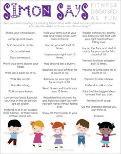 Simon Says printable activity for healthy kids #playmatters