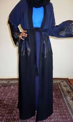 Navy Blue and Black with Lace Open Abaya
