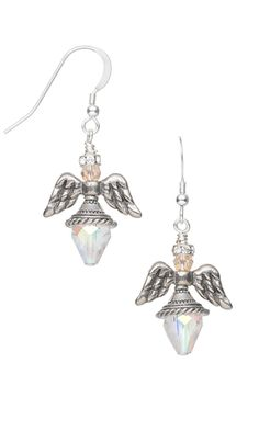 Angel Wing Earrings with Antiqued Pewter Beads and Celestial Crystal® Beads - Fire Mountain Gems and Beads