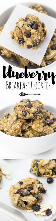 Blueberry Breakfast Cookies healthy enough for the most important meal of the day! Protein packed with nut butter, almonds, oats, blueberries and a touch of chocolate. This is how mornings should begin. (Gluten Free, Dairy Free, Vegan)