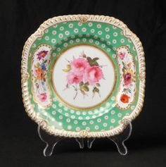 VERY FINELY PAINTED ANTIQUE JOHN ROSE COALPORT PORCELAIN CABINET PLATE. This went for an incredible 171 pounds and generated 46 bids. Beautiful flower painting and lively green pattern.