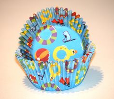 24 Summer Pool Party Cupcake Liners Blue Cupcake Papers Surf Baking Cups Rubber ducks Beach Party Supplies