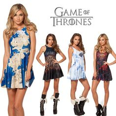 Summer Dress Game of Thrones Westeros Reversible Dragon Skater Dress Print Dresses Sexy Dress, $14.44