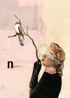 "Saatchi Online Artist: Kerstin Stephan; Paper, Assemblage / Collage ""Birds are beautiful"""