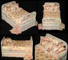 """This adorable little wicker toddler bed is handdressed and signed by Kelly Curtis.  Measuring only 4.5"""" long and 2.75"""" wide, it would look so sweet in your dollhouse nursery or childrenís room. The bed itself is an intricately scrolled wicker, which is handpainted and aged in an antique linen color. The bed is dressed in a lace trimmed peach pleated bed skirt, with a cozy floral comforter that drapes down the sides and is trimmed in matching bunka."""