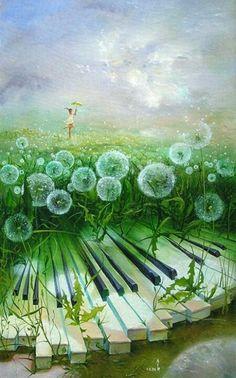 ♫♪ Music ♪♫ Dream ✚ Imagination ✚ Surrealism Piano flower field