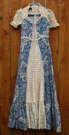 Vtg 60s Gunne Sax Floral Dress Black Label
