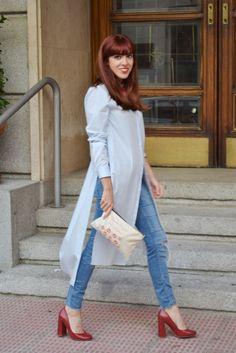 Look Camisa - Vestido sobre Jeans rasgasdos. ~ Mi Vida en Rojo