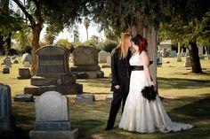 "Nothing says ""Halloween Wedding"" like a graveyard photoshoot!"