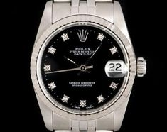 Rolex Datejust Mid-Size Stainless Steel Black Diamond Dial 68274 Luxury Watches, Rolex Watches, Oyster Perpetual Datejust, Rolex Datejust, Black Diamond, Gold Watch, White Gold, Stainless Steel, Accessories
