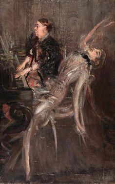 """Giovanni Boldini (Italian, 1842-1931) """"Lezione di piano"""""""