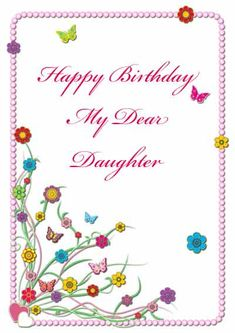 Printable birthday card for daughter - my-free-printable-cards.com