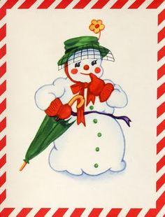Vintage Holiday Card - snowlady with umbrella
