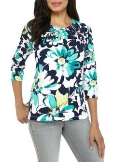Alfred Dunner Women's Petite Montego Bay Floral Knit Top - Multi - Pxl