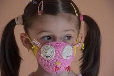 filter pocket crochet face mask pattern, children size 2-12 years old, pink crochet mask pattern, owl crochet mask  <br> Crochet Tutu Dress, Crochet Mask, Crochet Yoke, Basic Crochet Stitches, Free Crochet, Crochet Patterns, Crochet Faces, Crochet Girls, Crochet For Kids