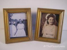 "Picture Frame PAIR OF 2 GOLD FINISH WOOD FRAMES FOR 2 1/2 "" X 3 1/4"" PHOTO #Cottage"