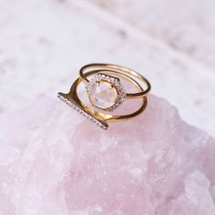 Hexagon Moonstone and Diamond Ring - local eclectic  - 1