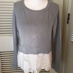 SALE ♥️ Pale blue cotton sweater w lace trim Simply sweet and very pretty pale blue sweater with cut work lace trim at hem. American Eagle Outfitters Sweaters Crew & Scoop Necks