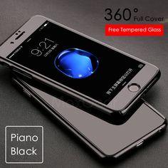 Luxury Piano Black 360 Degree Hard PC Case For Apple iPhone 5 5S SE 6 6S 7 Plus Slim Full Body Cover Capa+Glass Screen Protector