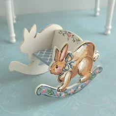 Karen Markland 1989 Rocker Rabbit Bunny Bench Easter Dollhouse Miniature   eBay