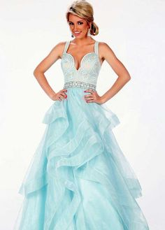 Paris by Mon Cheri 116741 Light Blue Beaded Layered Tulle Ball Gown