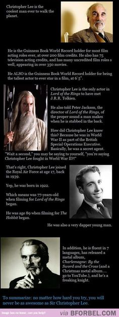 You Will Never Be As Awesome As Sir Christopher Lee…