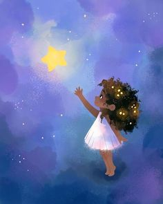 Reach for the stars ⭐️💙 I started this in procreate and moved it over to photoshop for some adjustments ✨ Illustration Art Dessin, Winter Illustration, Illustrations, Watercolor Illustration, Cartoon Pics, Cute Cartoon Wallpapers, Perspective Photography, Art Photography, Beautiful Drawings