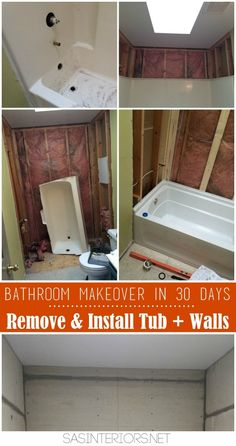 Home Remodeling Diy Bathroom Makeover in 30 Days CHALLENGE! Day Removing of the existing tub tub walls Small Shower Remodel, Diy Bathroom Remodel, Bathroom Renos, Bath Remodel, Bathroom Renovations, Home Remodeling, Bathroom Ideas, Restroom Remodel, Master Bathroom