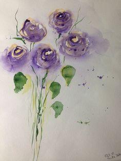 ORIGINAL AQUARELL Aquarellmalerei Bild Kunst Wiesenblumen Blumen Watercolour | Antiquitäten & Kunst, Kunst, Aquarelle | eBay!