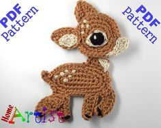 Searching for the perfect crochet applique pattern items? Shop at Etsy to find unique and handmade crochet applique pattern related items directly from our sellers. Appliques Au Crochet, Crochet Applique Patterns Free, Crochet Motifs, Elephant Applique, Crochet Amigurumi, Crochet Toys, Knit Crochet, Crochet Deer, Motifs D'appliques