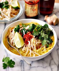 Thai chicken noodle soup - a comforting, effortless and tasty midweek throw together meal. Meat Recipes, Asian Recipes, Real Food Recipes, Dinner Recipes, Ethnic Recipes, Simply Nigella, Thai Chicken Noodles, Asian Soup, Nigella Lawson