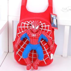 Cool Novelty 3D Spiderman Plush Lightweight Backpack 2 Colors
