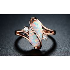 Peermont 18K Rose Gold Plated White Fire Opal and Cubic Zirconia... ($15) ❤ liked on Polyvore featuring jewelry, rings, jewelry