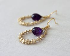 Amethyst Earrings February Birthstone Gold by michabella on Etsy