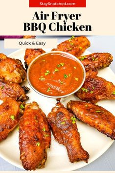 This Easy Air Fryer BBQ Chicken is made using wings, your favorite barbecue rub, and drizzled in BBQ sauce for the perfect grilled taste. You can make these using fresh or frozen chicken. Easy Healthy Recipes, Quick Easy Meals, Air Frier Recipes, Air Fryer Dinner Recipes, Air Fryer Healthy, Frozen Chicken, Bbq Chicken, Lunches And Dinners, Barbecue