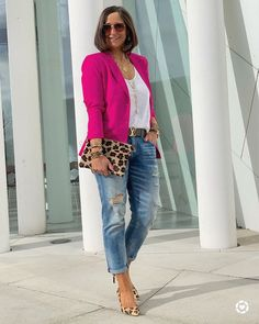 Straight Size to Plus Size Pink Blazer & Jeans Outfit with Gold Jewelry, Leopard Heels and Clutch, with Distressed Boyfriend Jeans. Blazer And Jeans Outfit Women, Pink Blazer Outfits, Jeans Outfit For Work, Look Blazer, Blazer With Jeans, Heels Outfits, Casual Work Outfits, Jean Outfits, Stylish Outfits