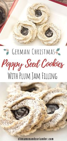 These pretty traditional German Christmas cookies consist of a buttery poppy seed shortbread cookie and a piped marzipan cookie sandwiched together with spiked plum jam! An authentic German Christmas cookie recipe to impress everyone with! German Christmas Cookies, German Cookies, German Christmas Traditions, Traditional Christmas Cookies, Shortbread Recipes, Cookie Recipes, Shortbread Cookies, Holiday Baking, Christmas Baking